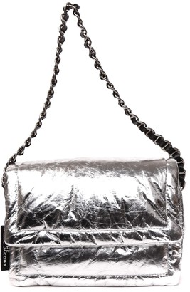 Marc Jacobs Metallic Silver Leather Pillow Bag
