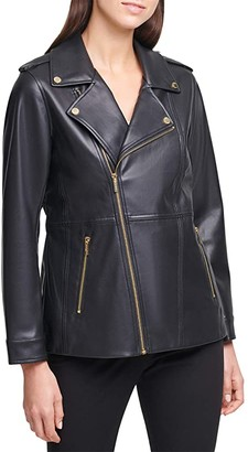 Calvin Klein Moto Jacket with Zippers (Black) Women's Clothing