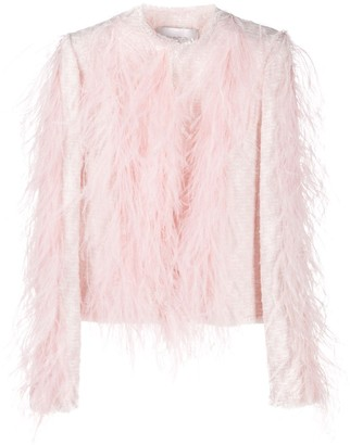 Giambattista Valli Ostrich Feather Long-Sleeved Jacket