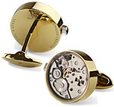 Dich Creat Stainless Steel Hollow Out Cross Working Movement Cufflinks Covered with glass