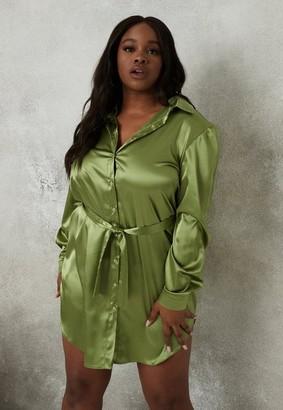 Missguided Plus Size Green Satin Shirt Dress