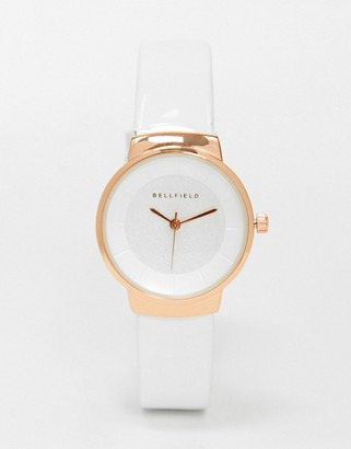 Bellfield watch with white strap and rose gold dial
