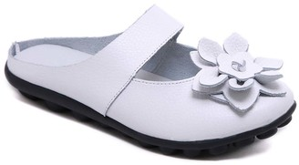 Rumour Has It Women's Mules White - White Floral Strappy Leather Mule - Women