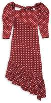 Pushbutton Polka Dot Asymmetrical Dress