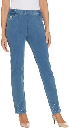 Quacker Factory Regular DreamJeannes Pull-On Slim Leg Pants