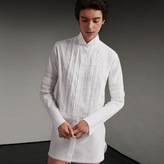 Burberry Cotton Shirt Dress with Pintucks and Macramé Trim