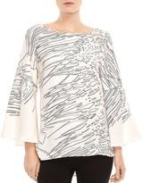 Halston Printed Flounce-Sleeve Tunic Top