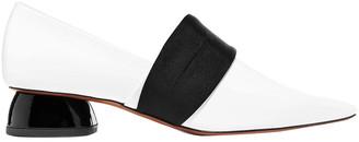 Neous Olabium Satin-trimmed Patent-leather Pumps