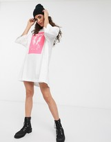 Weekday Huge rave slogan oversized t-shirt dress in white