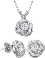 JCPenney FINE JEWELRY DiamonArt Cubic Zirconia Love Knot Pendant Necklace & Earring Set