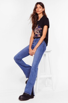 Nasty Gal Womens Make Slit Count High-Waisted Flared Jeans - Blue - L, Blue