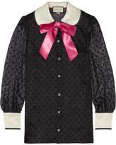 Gucci Bow-embellished Flocked Silk-organza Shirt - Black
