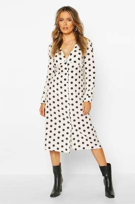 boohoo Polka Dot Button Midi Skater Dress