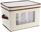 Household Essentials Flute-Style Stemware Storage Chest, Natural Canvas with Brown Trim