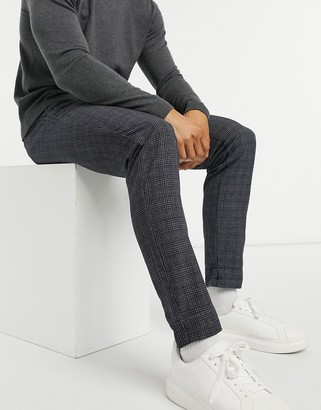 Jack and Jones jersey suit pants in gray plaid