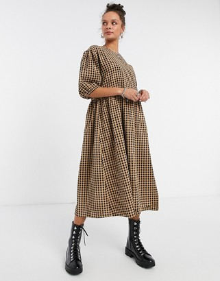 Monki Yoyo organic cotton gingham print smock midi dress in beige