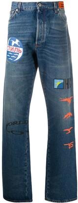 Heron Preston Graphic-Print Bootcut Jeans