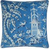 """Legacy Pagoda Garden Toile Pillow, 22""""Sq."""
