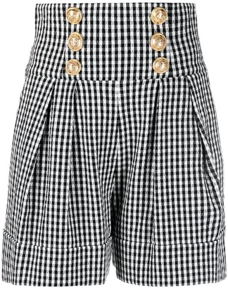 Balmain High-Waisted Embossed-Button Check Shorts