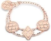 Rebecca Melrose Rose Gold Over Bronze Bracelet w/Geometric Charms