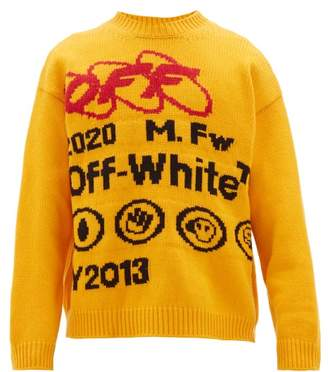 Off-White Off White Industrial Logo Intarsia Wool Blend Sweater - Mens - Yellow