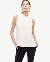 Ann Taylor Crepe Pleated Mock Neck Shell
