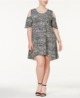 NY Collection Plus Size Cold-Shoulder Printed Dress