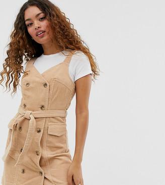 Miss Selfridge Petite cord pinny dress in camel-Tan