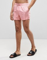 Asos Swim Shorts In Pink Wet Look Mesh In Short Length