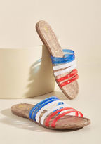 For You Let these red, white, and blue sandals proclaim your favor for a day spent frolicking! BC Footwear serves up these sassy slides with jelly bands, cork-inspired footbeds, and a playful attitude that encourages you to 'hues' your imagination for making the