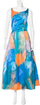 Milly Satin Brushstroke Print Dress w/ Tags