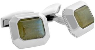 Tateossian Silver Jaipur Cabochon Labradorite Cufflinks
