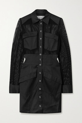 Fleur Du Mal Paneled Twill And Mesh Mini Shirt Dress - Black