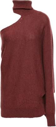 Brunello Cucinelli Cutout Embellished Cashmere And Silk-blend Turtleneck Sweater