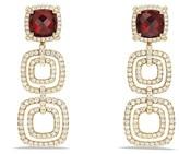 David Yurman Ch'telaine Pavé Bezel Triple Drop Earrings with Garnet and Diamonds in 18K Gold