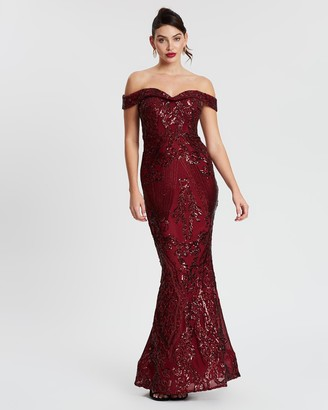 Bariano Flaming Off-The-Shoulder Fishtail Gown