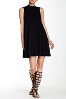 Angie Mock Neck Solid Shift Dress