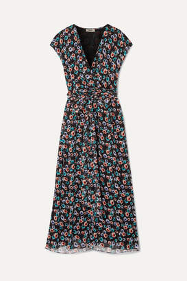 Jason Wu Belted Wrap-effect Floral-print Silk-georgette Midi Dress - Black