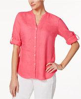 Charter Club Linen Split-Neck Shirt, Created for Macy's