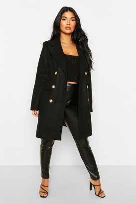 boohoo Petite Wool Look Double Breasted Coat