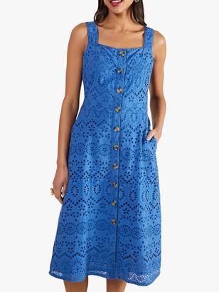 Yumi Broderie Sleeveless Button Cotton Dress, Cobalt