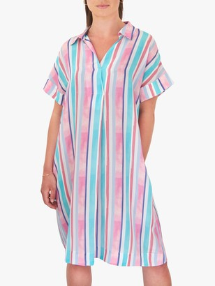 NRBY Shelly Silk Knee Length Striped Shirt Dress, Multi