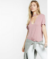 Express one eleven choker v-neck tee