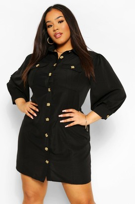 boohoo Plus Utility Pocket Front Shirt Dress