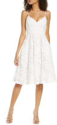 Lulus Nora Lee Lace Fit & Flare Dress