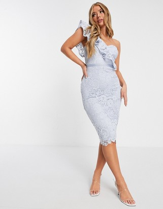 Lipsy one shoulder lace pencil dress in cornflower blue