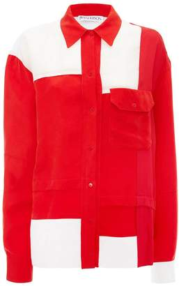 J.W.Anderson EXCLUSIVE PILLARBOX RED CONTRAST PANEL SHIRT