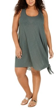 Becca Etc Plus Size Solid Breezy Basics Cover-Up Dress Women's Swimsuit