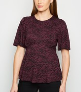 New Look Burgundy Spot Flutter Sleeve Top