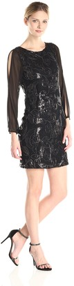 Andrew Marc Women's 3/4 Sleeve Lace Sequin Dress
